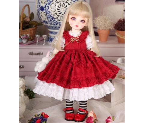 ドール衣装 Honey 洋服赤いスカート BJD衣装 1/4 1/6 サイズが注文できる