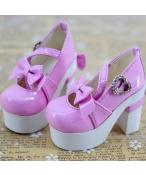 Bjd靴 ドール靴 ピンク蝶結び 厚底ハイヒール 人形靴 1/4 単独で購入できない