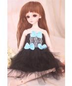 ドール衣装 青い蝶結び 黒レース洋服 BJD衣装 1/4 サイズが注文できる