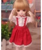 ドール衣装 白衣装+赤スカート BJD衣装 サイズが注文できる