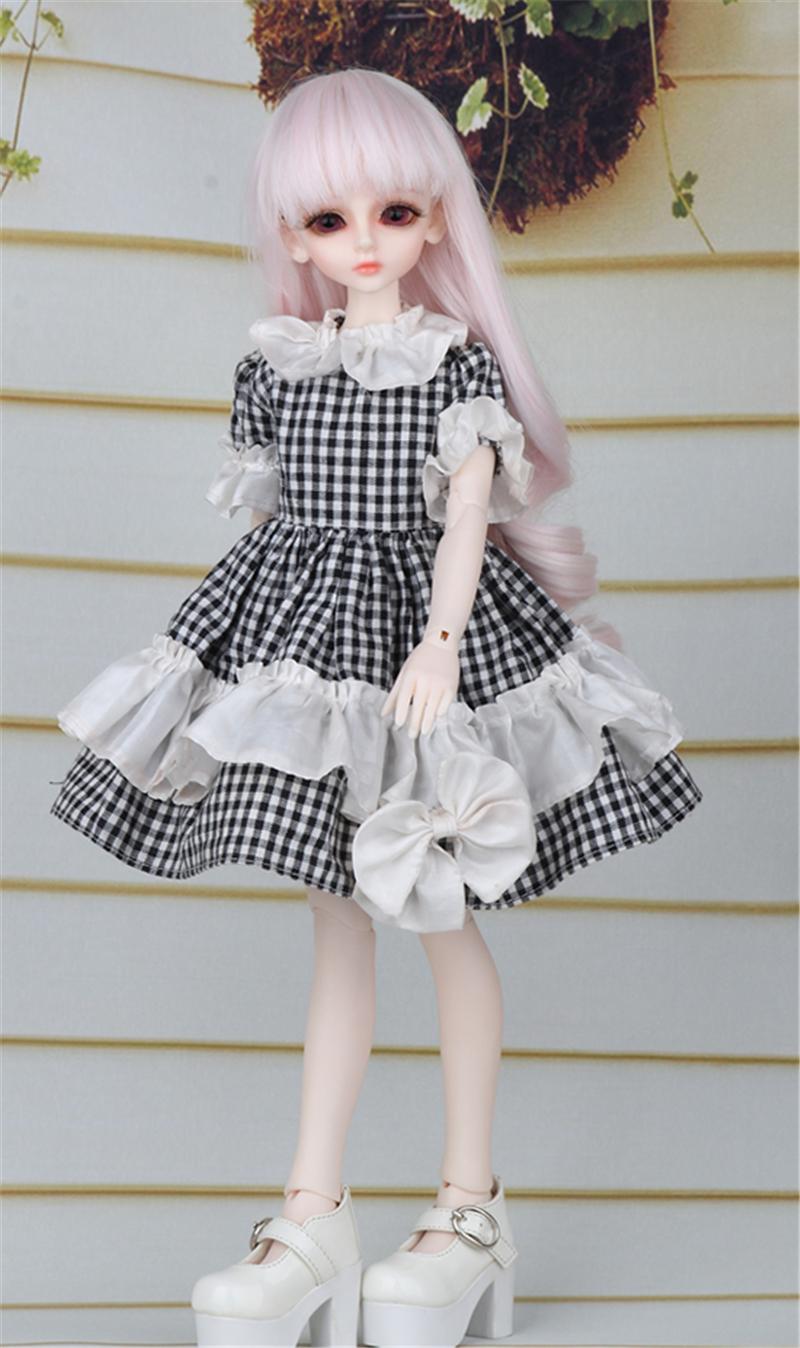 ドール衣装 黒白スカート蝶結び BJD衣装 1/4 サイズが注文できる製品図5