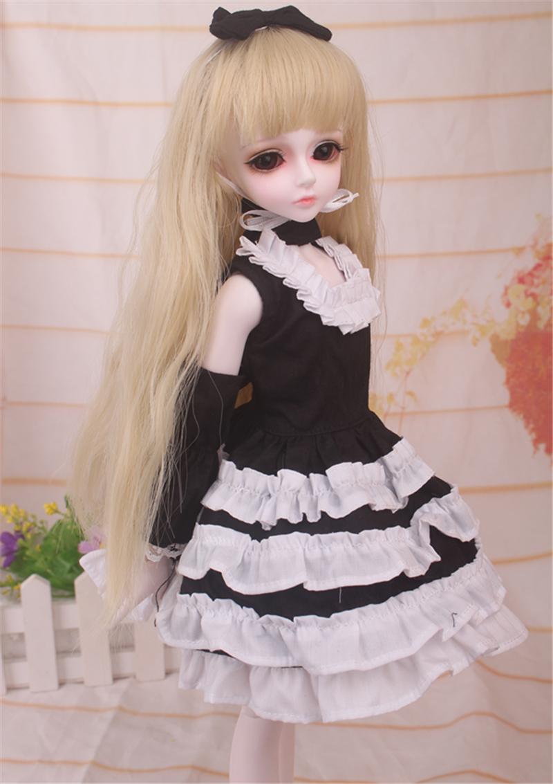 ドール衣装 黒白洋服 スカート BJD衣装 1/4 サイズが注文できる製品図5