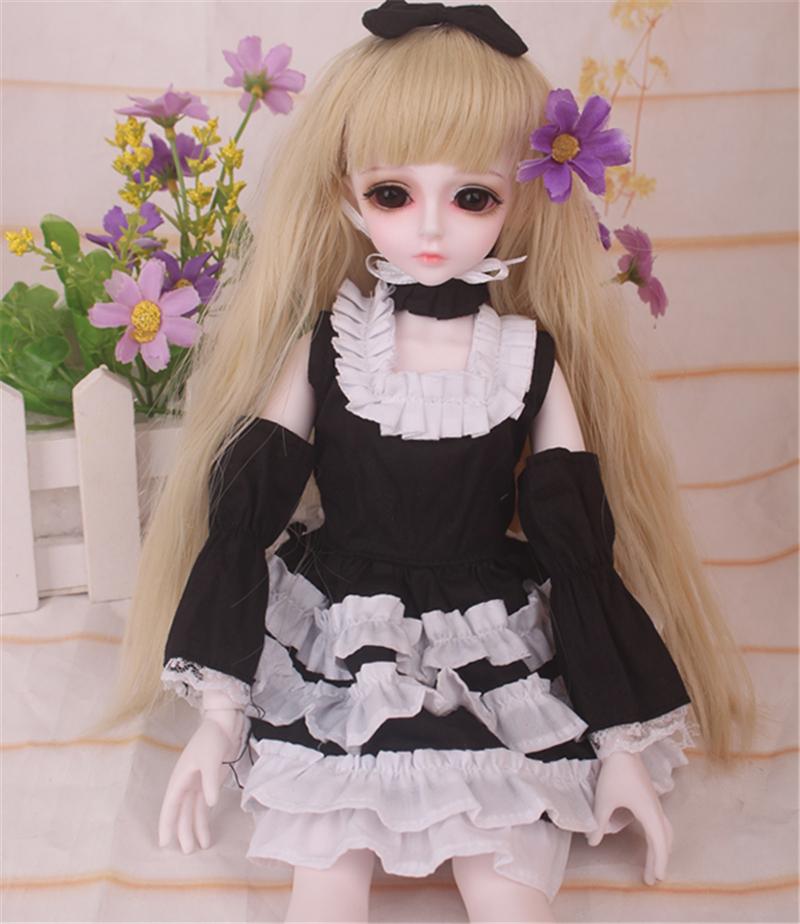 ドール衣装 黒白洋服 スカート BJD衣装 1/4 サイズが注文できる製品図1