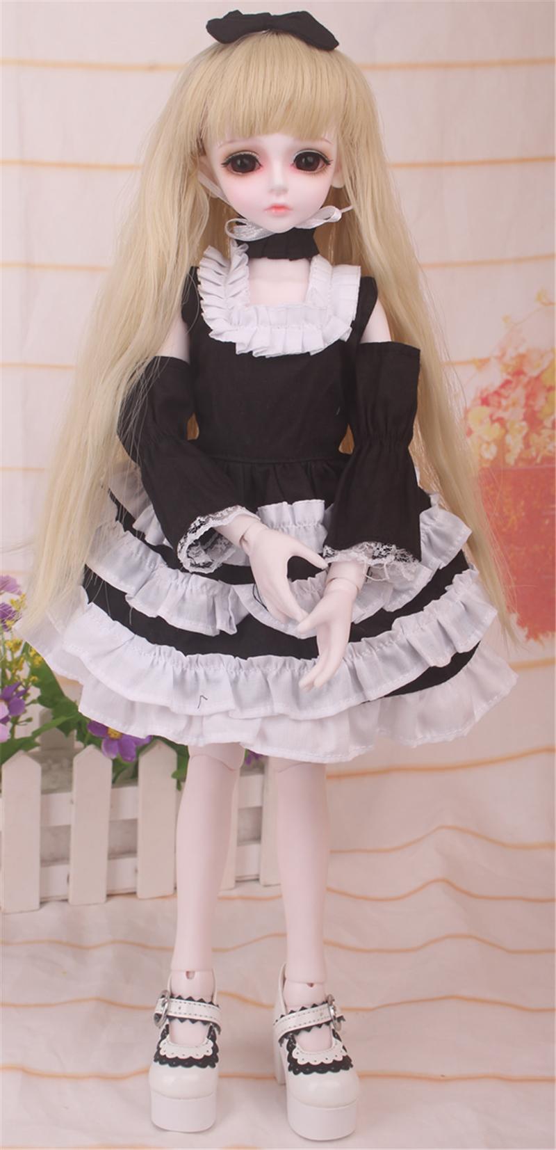ドール衣装 黒白洋服 スカート BJD衣装 1/4 サイズが注文できる製品図2