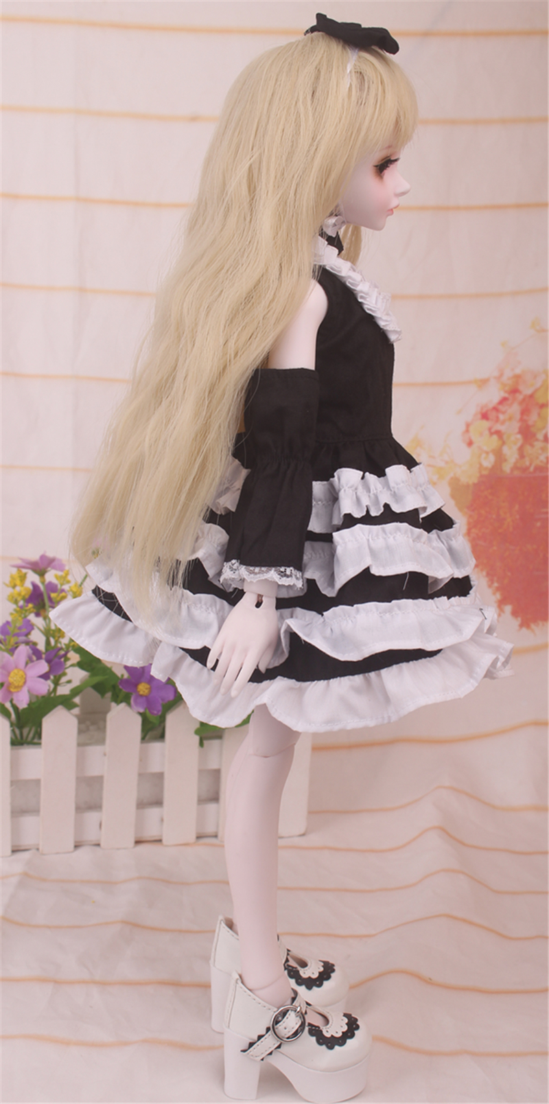 ドール衣装 黒白洋服 スカート BJD衣装 1/4 サイズが注文できる製品図3