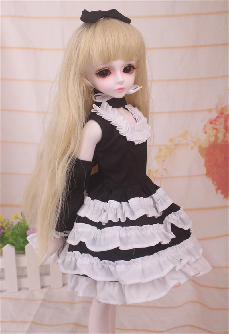ドール衣装 黒白洋服 スカート BJD衣装 1/4 サイズが注文できる製品図4
