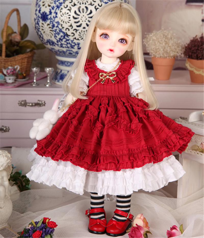 ドール衣装 Honey 洋服赤いスカート BJD衣装 1/4 1/6 サイズが注文できる製品図1