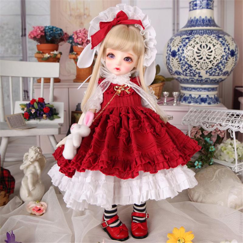ドール衣装 Honey 洋服赤いスカート BJD衣装 1/4 1/6 サイズが注文できる製品図2