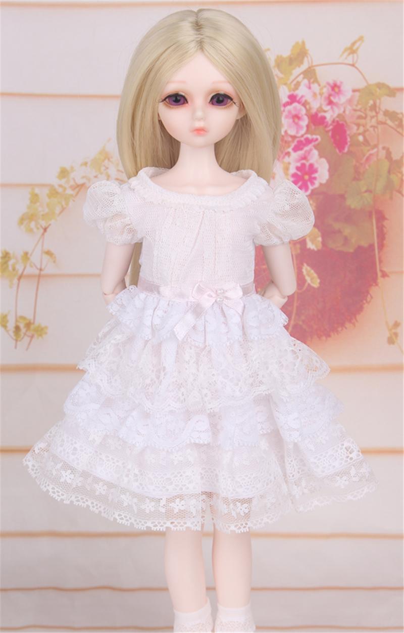ドール衣装 白洋服 レース スカート BJD衣装 1/4 サイズが注文できる製品図2