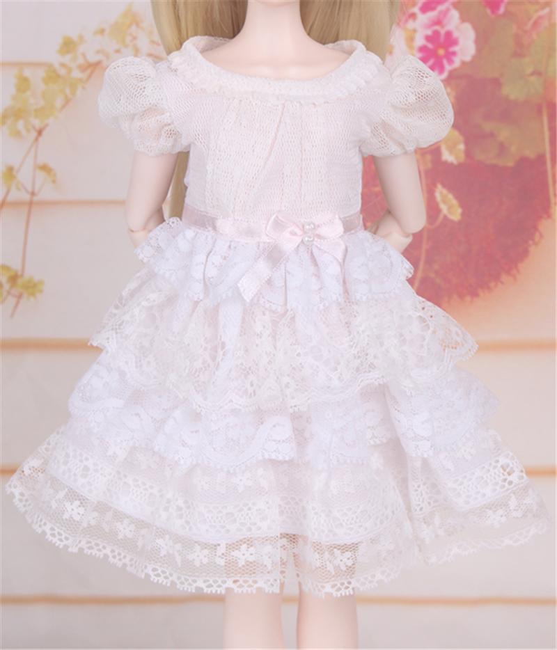 ドール衣装 白洋服 レース スカート BJD衣装 1/4 サイズが注文できる製品図3