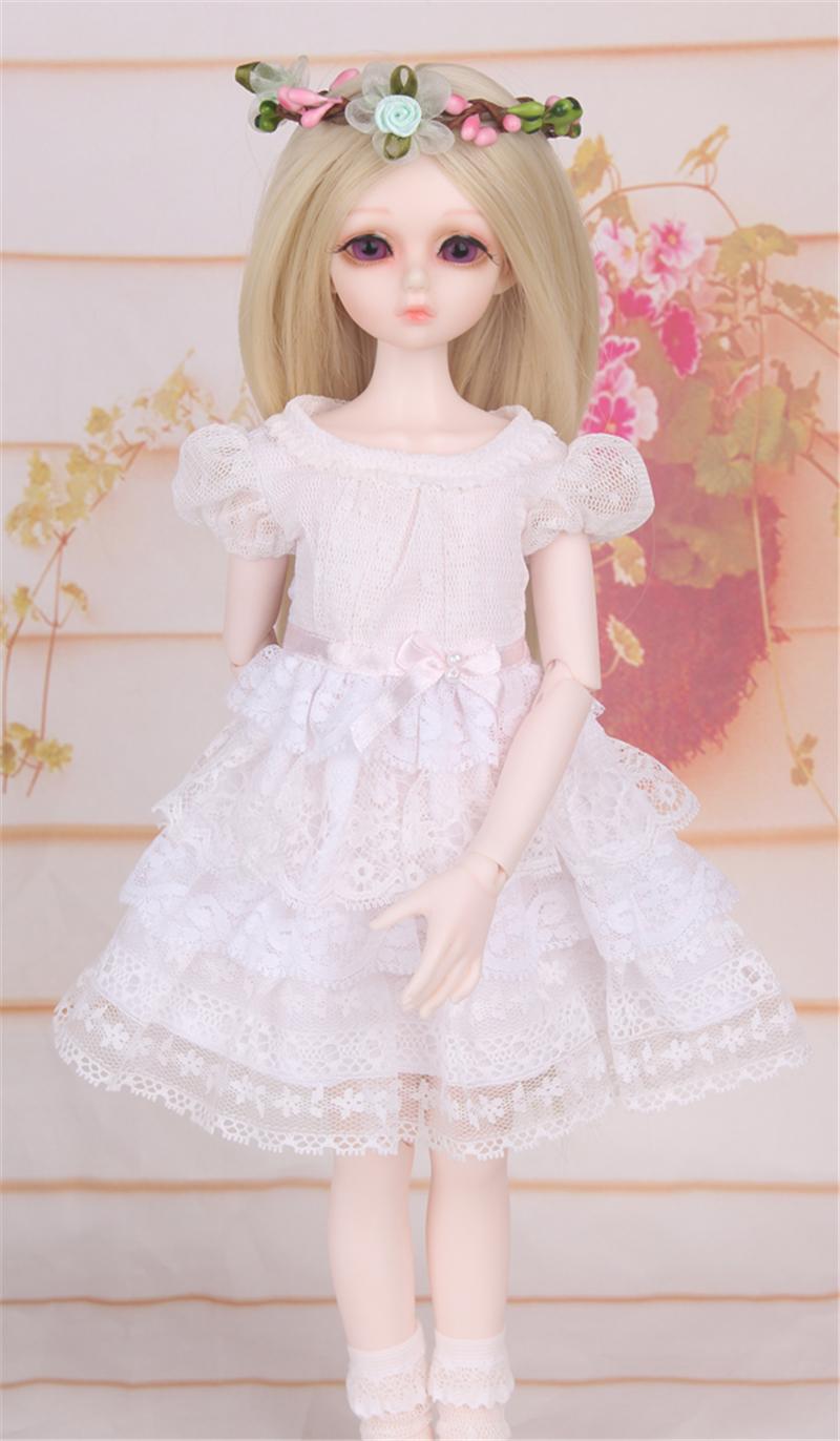ドール衣装 白洋服 レース スカート BJD衣装 1/4 サイズが注文できる製品図4