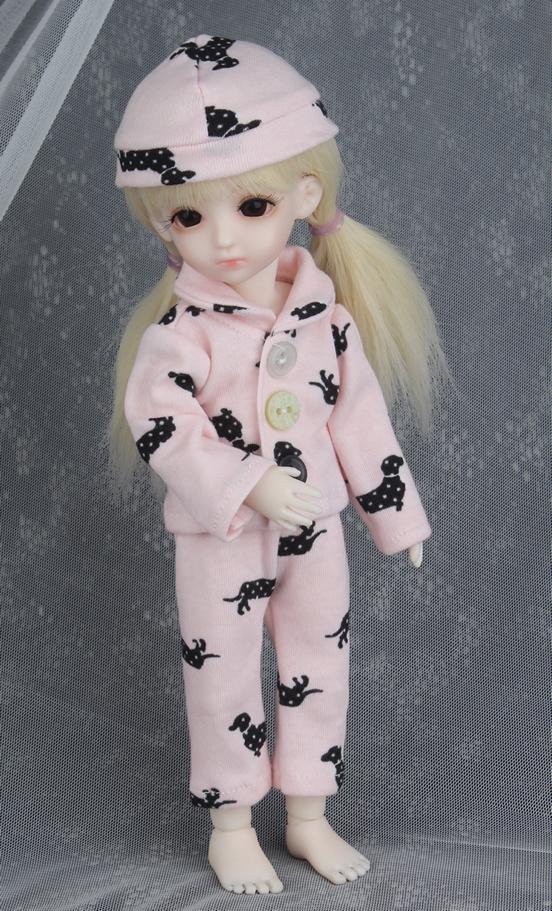 ドール衣装 BB ピンクパジャマ BJD衣装 1/6 サイズが注文できる製品図1