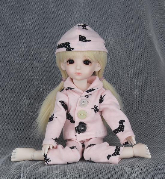 ドール衣装 BB ピンクパジャマ BJD衣装 1/6 サイズが注文できる製品図2