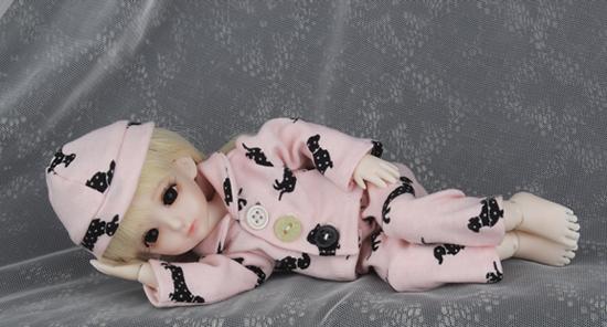 ドール衣装 BB ピンクパジャマ BJD衣装 1/6 サイズが注文できる製品図3
