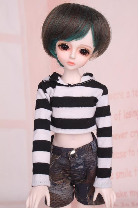 人形ウィッグ BJDウィッグ 黒緑 ショートヘア 1/4 単独で購入できない製品図1