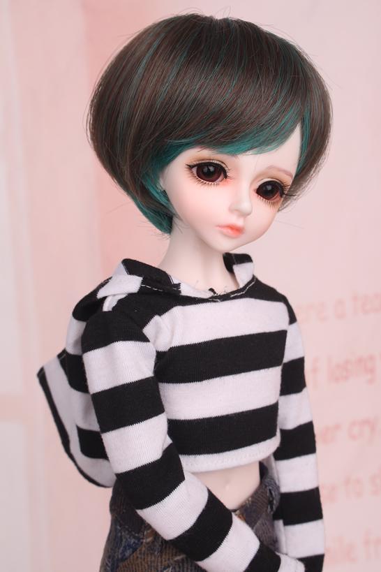 人形ウィッグ BJDウィッグ 黒緑 ショートヘア 1/4 単独で購入できない製品図2