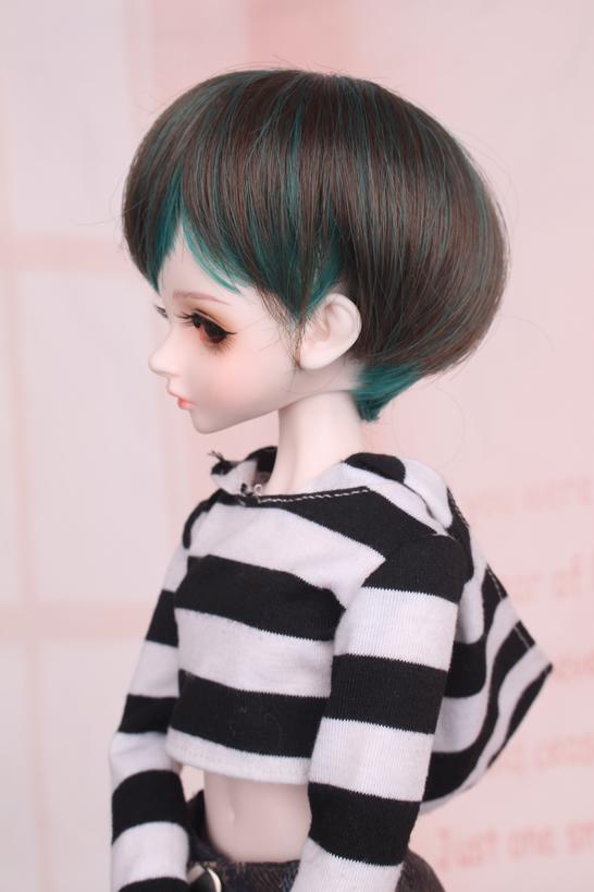 人形ウィッグ BJDウィッグ 黒緑 ショートヘア 1/4 単独で購入できない製品図3