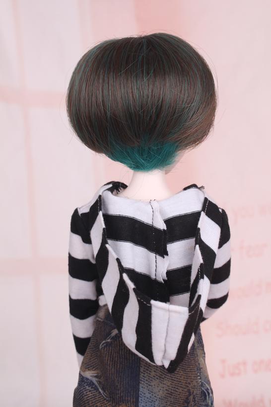 人形ウィッグ BJDウィッグ 黒緑 ショートヘア 1/4 単独で購入できない製品図4