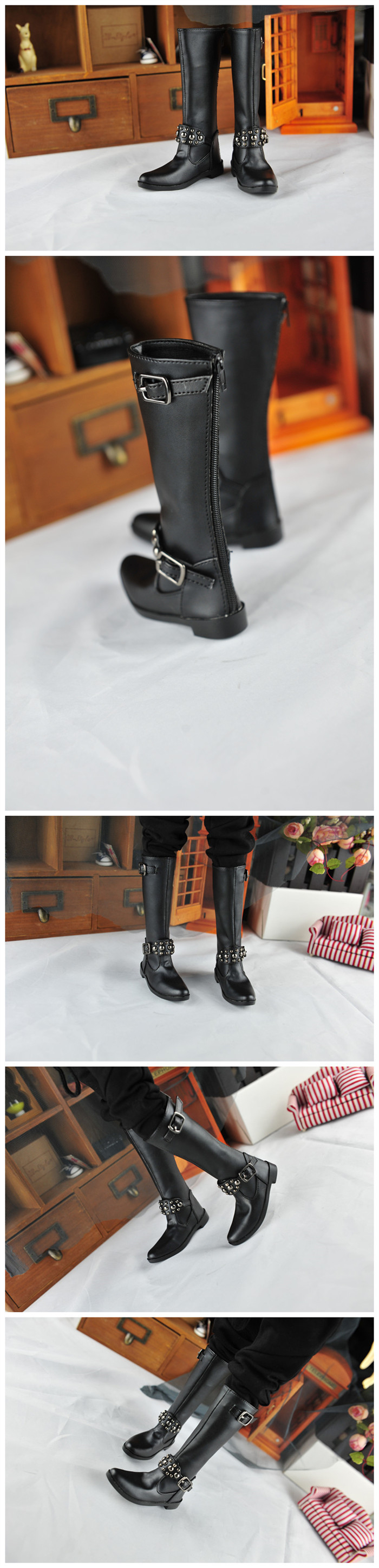 BJD靴  ドール靴 男用 人形靴 長ブーツ 1/3サイズ製品図3